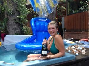 Mermaids at La Marmotte poured champagne.