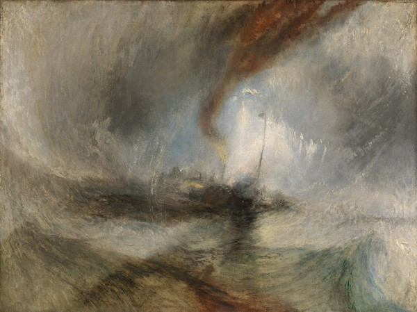 Snow Storm—Steam-Boat off a Harbour's Mouth, exhibited 1842, J. M. W. Turner, oil on canvas. Courtesy of Tate: Accepted by the nation as part of the Turner Bequest 1856. Photo © Tate, London 2014