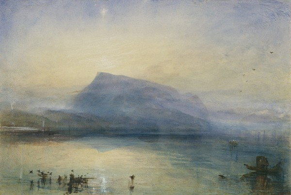 The Blue Rigi, Sunrise, 1842, J. M. W. Turner, watercolor. Courtesy of Tate: Purchased with assistance from the National Heritage Memorial Fund, the Art Fund (with a contribution from the Wolfson Foundation and including generous support from David and Susan Gradel, and from other members of the public through the Save The Blue Rigi appeal), Tate Members, and other donors 2007. Photo © Tate, London 2014