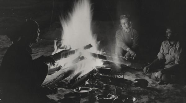 French trio under a Colorado campfire.