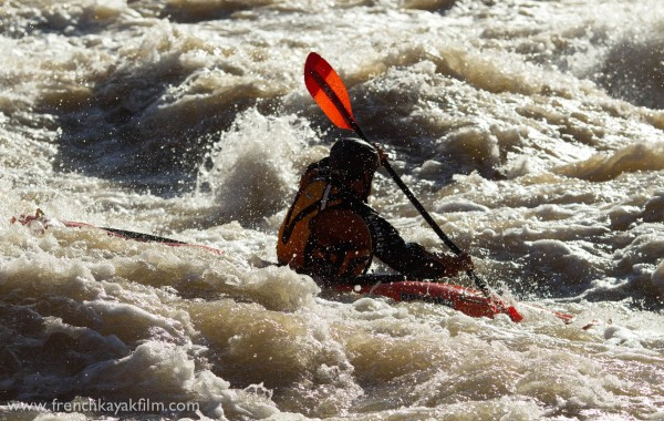 Ian McClusky a newbie kayaker, in the rapids.
